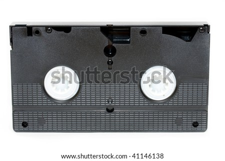 video tape , rear  view isolated on white - stock photo