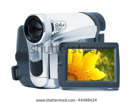 Videocamera on a white background with the display - stock photo