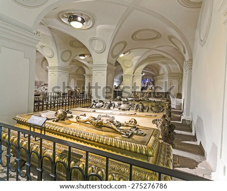 VIENNA, AUSTRIA - APR 26, 2015:  crypt of the Habsburger Kings in Vienna, Austria. The bones of 145 Habsburg royalty, plus urns containing the hearts or cremated remains of four others, are here.