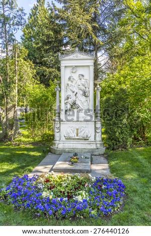 VIENNA, AUSTRIA - APR 26, 2015: Franz Schubert Memorial in Zentralfriedhof, Vienna, Austria. - stock photo