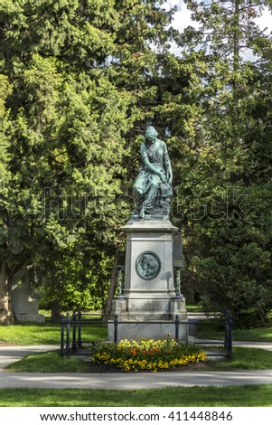 VIENNA, AUSTRIA - APR 26, 2015: view to  Vienna Central Cemetery, the place where famous austrian people are burried like Strauss, Beethoven and Mozart. - stock photo