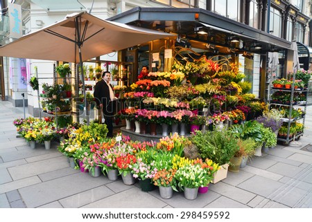 Vienna, Austria - April 4, 2015: A flower shop on the streets of Vienna, Austria. Shot taken on April 4th, 2015 - stock photo