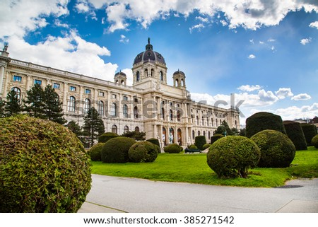 Vienna, Austria - April 3, 2015: Beautiful view of famous Naturhistorisches Museum, Natural History Museum and tourists around  in Vienna, Austria
