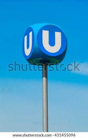 VIENNA, AUSTRIA - APRIL 23, 2016:  Metro station sign in Vienna - stock photo