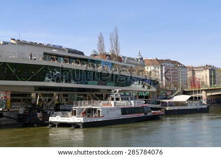 VIENNA, AUSTRIA - April 13, 2015: Ship station Vienna city. The Twin City Liner catamarans, connecting Vienna with Bratislava, dock here on the Danube Canal (Donaukanal). - stock photo
