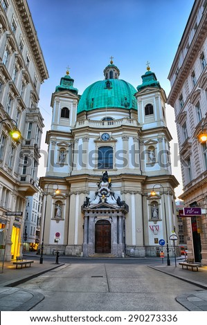 Vienna, Austria - April 4, 2015. The Peterskirche (St. Peters Church) in Vienna, Austria, Europe. - stock photo