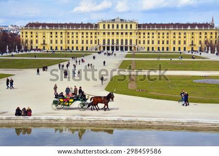 Vienna, Austria - April 4, 2015: The Schonbrunn Palace in Vienna, Austria. Shot taken on April 4th, 2015 - stock photo