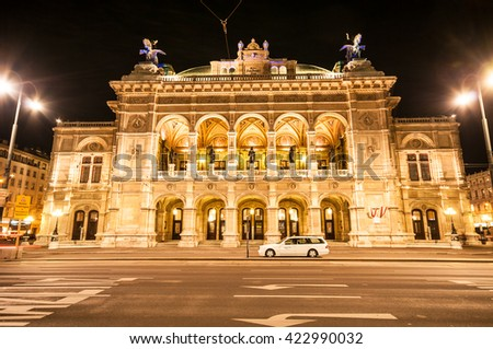 VIENNA, AUSTRIA - APRIL 23, 2016: View of Vienna State Opera House (Staatsoper) by night - stock photo