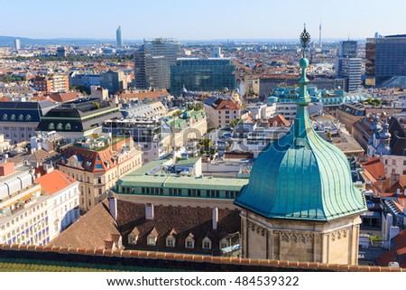 Vienna. Austria. Architecture cityscape of top view of the city. Vew from the south tower of St. Stephen Cathedral