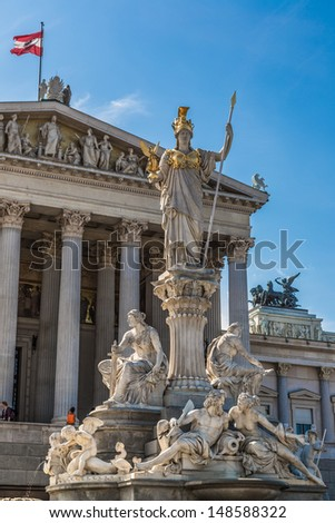 VIENNA, AUSTRIA-AUG 1: Austrian parliament building (Hohes Haus) on August 1, 2013 in Vienna, Austria. It covers over 13,500 square meters, making it one of the largest structures on the Ringstrase.