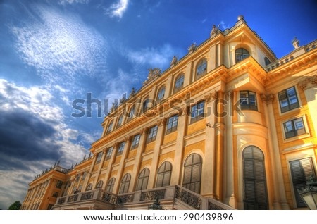 VIENNA, AUSTRIA - August 31: A close look of the famous Schonbrunn Palace, Vienna in HDR from the gardens of the palace. August 31, 2013 - stock photo