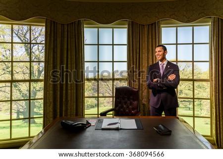 VIENNA, AUSTRIA - AUGUST 08, 2015: Barack Obama Figurine At Madame Tussauds Wax Museum. - stock photo