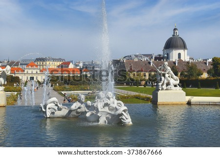 Vienna, Austria- 28 August, 2015 : details from the the Baroque park at the Belvedere Castle in Vienna on 28 August in Vienna, Austria built as a summer residence for Prince Eugene of Savoy - stock photo