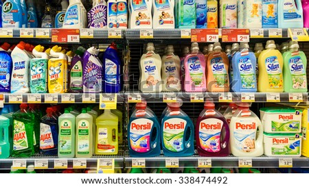 VIENNA, AUSTRIA - AUGUST 20, 2015: Detergents For Laundry Cleaning On Supermarket Shelf.
