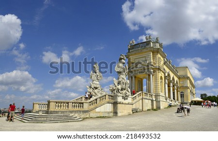 VIENNA, AUSTRIA - AUGUST 10: Glorietee building at Schonbrunn Palace on August 10, 2014. Schonbrunn Palace with its parks and gardens is UNESCO World Heritage Site - stock photo