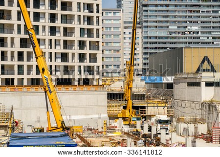 VIENNA, AUSTRIA - AUGUST 20, 2015: Skyscraper Foundation Construction Site In The Donaucity District Of Vienna. - stock photo