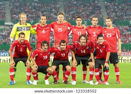 VIENNA,  AUSTRIA - AUGUST 15 The Austrian team during the national anthem before the friendly soccer game on August 15, 2012 in Vienna, Austria. - stock photo