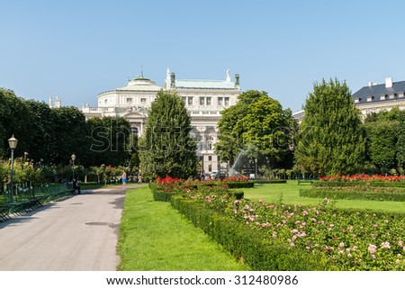 VIENNA, AUSTRIA - AUGUST 05, 2015: The Volksgarten (People's Garden) is a public park which is part of the Hofburg Palace in the Innere Stadt district of Vienna and was opened to the public in 1823.