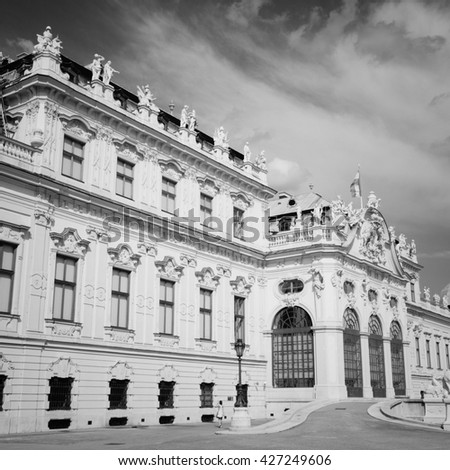 Vienna, Austria - Belvedere Palace building. The Old Town is a UNESCO World Heritage Site. Black and white style. - stock photo