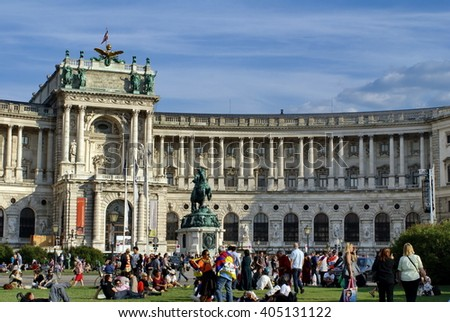 VIENNA, AUSTRIA - CIRCA MAY 2012: Save Palestine rally in front of the Habsburg Summer Palace
