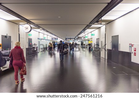 VIENNA, AUSTRIA - DEC 30, 2014: Interior of the Vienna International Airport, which serves as the hub for Austrian Airlines - stock photo