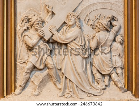 VIENNA, AUSTRIA - DECEMBER 17, 2014: Jesus carries his cross. Relief as one part of Cross way cycle in Sacre Coeur church by R. Haas from end of 19. cent.