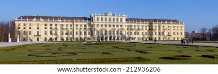 VIENNA, AUSTRIA - DECEMBER 24: Schonbrunn Palace royal residence on December 24, 2013 in Vienna. One of the most important cultural monuments in the country and a major tourist attraction in Vienna. - stock photo