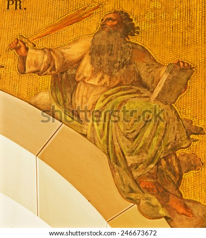 VIENNA, AUSTRIA - DECEMBER 17, 2014: The fresco of prophet Elijah by Josef Kastner the younger from 20. cent in the church Muttergotteskirche. - stock photo