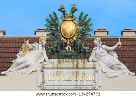 Vienna, Austria - Eagle on imperial palace - stock photo