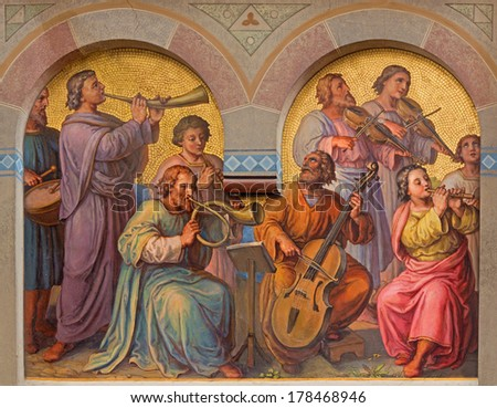 VIENNA, AUSTRIA - FEBRUARY 17, 2014: Choir of holys in the heaven by Josef Kastner from 1906 - 1911 in Carmelites church in Dobling. - stock photo