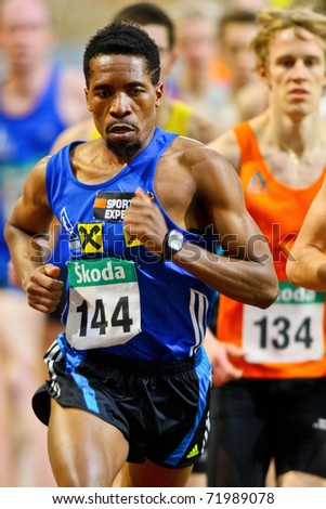 VIENNA, AUSTRIA - FEBRUARY 19: Indoor track and field championship. Alfred Sungi places tenth in the men's 1500m event on February 19, 2011 in Vienna, Austria.