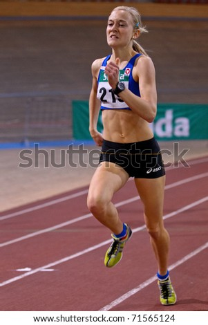 VIENNA, AUSTRIA - FEBRUARY 19: Indoor track and field championship. Jennifer Went (#219, Austria) wins the women's 1500m event on February 19, 2011 in Vienna, Austria.