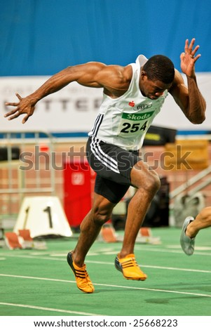 VIENNA, AUSTRIA - FEBRUARY 21: Indoor track and field championship: Ryan Moseley wins the men's 60m sprint event February 21, 2009 in Vienna, Austria.