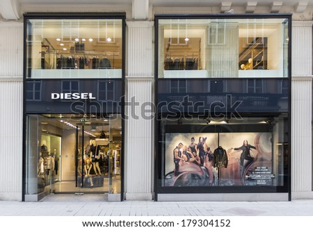 VIENNA, AUSTRIA - FEBRUARY 5, 2014: View at Diesel shop in Vienna. Diesel is an Italian design company founded at Molvena, Italy at 1978. At 2009 company have more than 2200 employees.