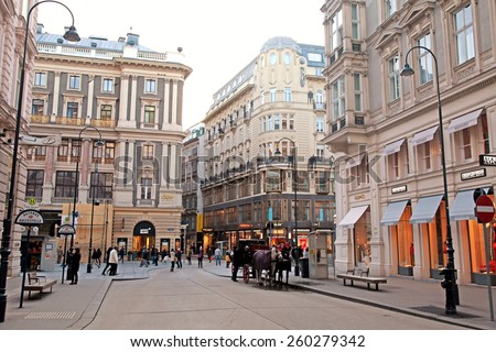 VIENNA, AUSTRIA - FEBRUARY 3,20015: View of main shopping street Graben in center of Vienna, Austria.  - stock photo