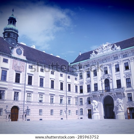 Vienna, Austria - Hofburg Palace courtyard. Vintage color style - cross processed filtered colors tone. - stock photo