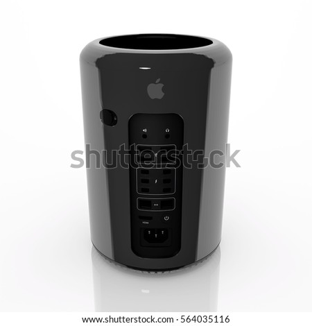 Vienna, Austria - January 10, 2017: Apple Mac Pro desktop PC. Isolated on white.