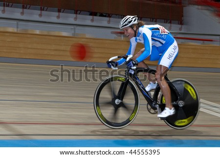 VIENNA,  AUSTRIA - JANUARY 12 Indoor track cycling meeting - Elissavet Chantzi (Greece) places fourth in the women's scratch race on January 12, 2010 in Vienna, Austria. - stock photo