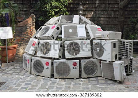 VIENNA, AUSTRIA - JULY 12: Climate Changes Project in Wien on JULY 12, 2015. Air Conditioners in Igloo Shape Exhibition at Kunst Haus Wien Museum in Vienna, Austria. - stock photo