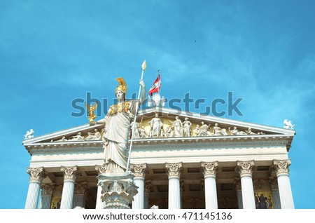 Vienna, Austria - July 26, 2014: Detail of Athena Fountain in front of Austrian Parliament Building in Vienna.