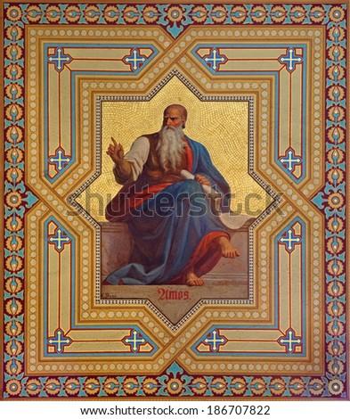 VIENNA, AUSTRIA - JULY 27, 2013: Fresco of Amos prophets by Karl von Blaas from 19. cent. in Altlerchenfelder church. - stock photo