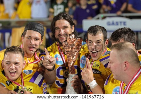 VIENNA, AUSTRIA - JULY 28 The team of the Vikings celebrates their  victory in Austrian finals on July 28, 2012 in Vienna, Austria. - stock photo