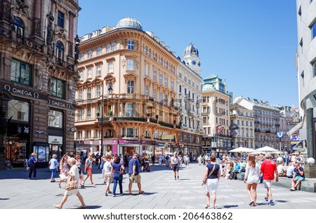 VIENNA, AUSTRIA-July 3 : Tourists on foot Graben Street in Vienna on July 3, 2014.Vienna is Austria's primary city, with a population of about 1.757 million. - stock photo