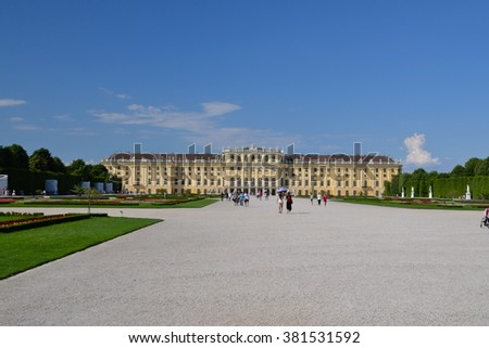 VIENNA, AUSTRIA - 23 JUN 2013: Schonbrunn Palace with gardens. The former imperial summer residence is a UNESCO World Heritage site and Austria's most-visited tourist attraction