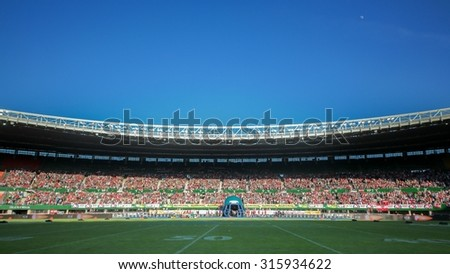 VIENNA, AUSTRIA - JUNE 7, 2014: A view of the Ernst/Happel-Stadium in Vienna before the finals of the American Football Championships. - stock photo