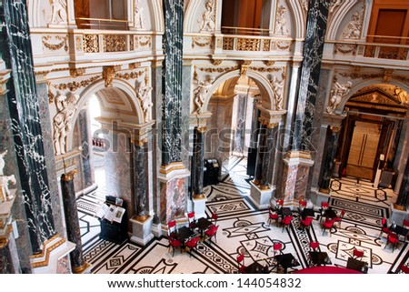 VIENNA, AUSTRIA - JUNE 6: Inside the beautiful historical Kunsthistorisches Museum on June 6, 2011 in Vienna. Musem was opened in 1891. It is among 100 most visited museums worldwide - stock photo