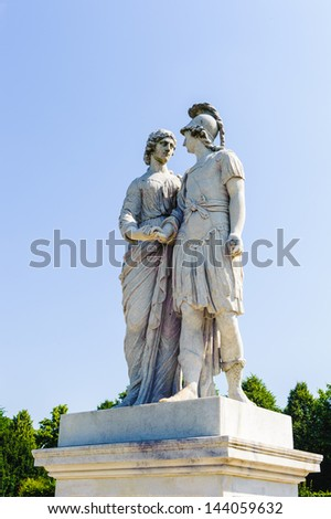 VIENNA, AUSTRIA - JUNE 17: Monument in the Schonbrunn Palace gardens on June, 17, 2013 in Vienna, Austria. One of the most important cultural monuments, one of the major tourist attractions in Vienna - stock photo