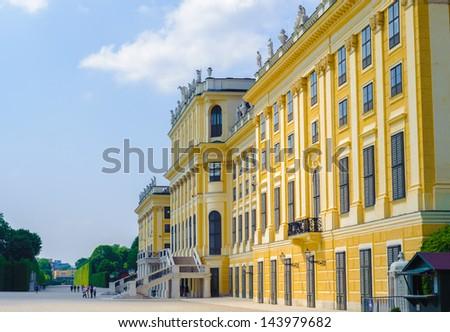 VIENNA, AUSTRIA - JUNE 14: Schonbrunn Palace on June, 17, 2013 in Vienna, Austria. It's a former imperial 1,441-room Rococo summer residence in modern Vienna, - stock photo