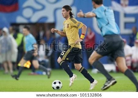 VIENNA, AUSTRIA - JUNE 26:  Sergio Ramos of Spain on the ball during a UEFA Euro 2008 soccer match June 26, 2008 in Vienna, Austria.  Editorial use only. - stock photo