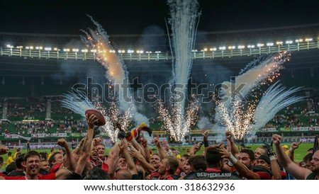 VIENNA, AUSTRIA - JUNE 7, 2014: Team Germany celebrate their win over Austria in the finals. - stock photo
